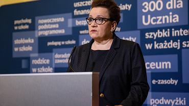 Minister Edukacji Narodowej Anna Zalewska podczas konferencji prasowej, 22 marca 2019.