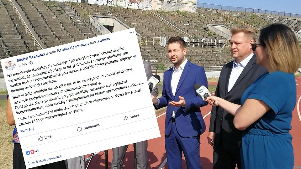 Konferencja na stadionie Skry. W jasnym garniturze minister sportu Witold Bańka, na prawo od niego Patryk Jaki, a obok niego - Krzysztof Kaliszewski, prezes klubu Skra.