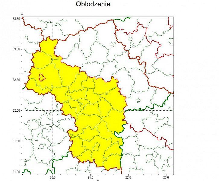 W tych powiatach - Płock zaznaczony na czerwono z lewej strony - mogą wystąpić marznące opady i oblodzenie