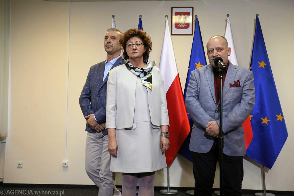 Strajk nauczycieli. Przedstawiciele związków: Sławomir Broniarz, Dorota Gardias i Slawomir Wittkowicz