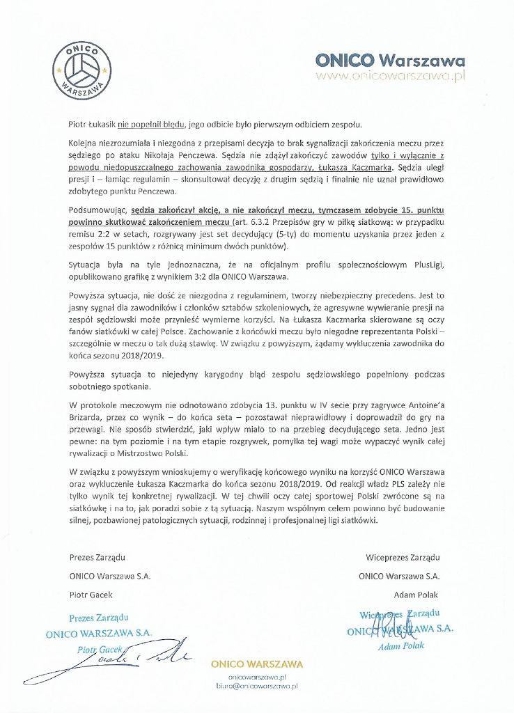 Oświadczenie ONICO Warszawa