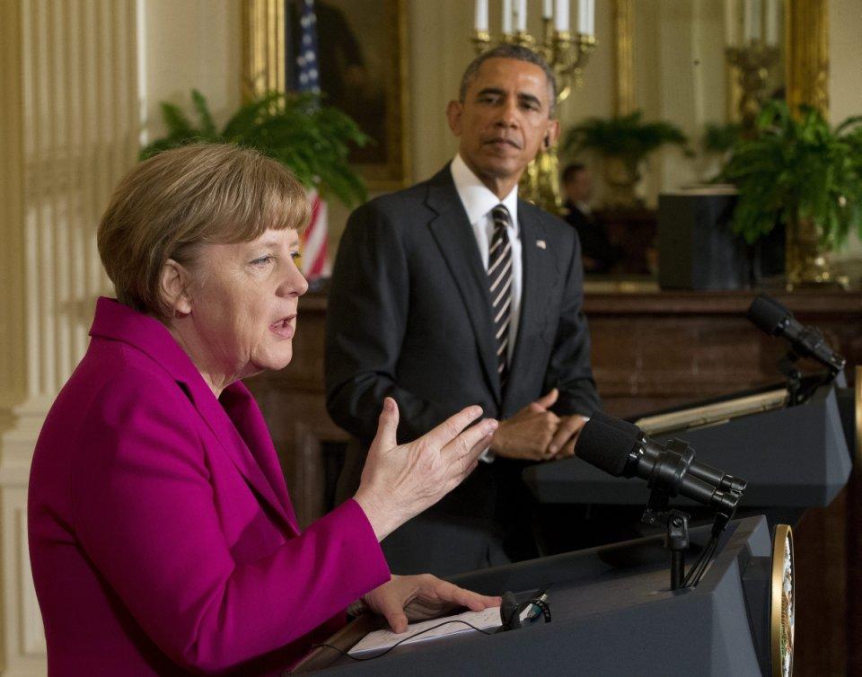 Angela Merkel na spotkaniu z Barackiem Obamą