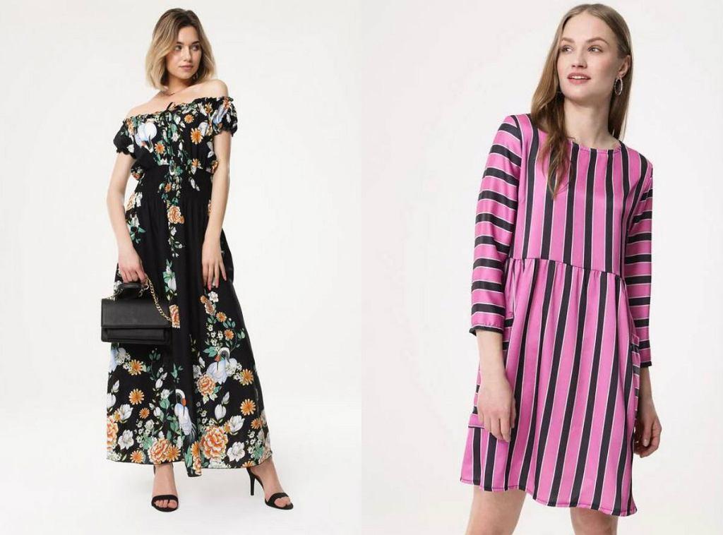 Długa, elegancka sukienka w kwiaty oraz sukienka z długim rękawem w paski idealnie sprawdzą się na letnie przyjecie