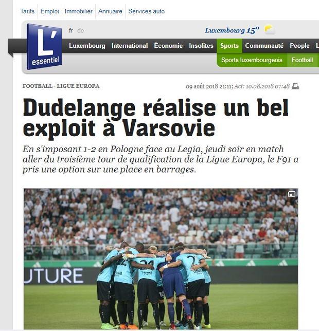 Luksemburskie media po meczu Dudelange - Legia Warszawa