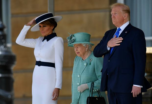 U.S President Donald Trump and First Lady Melania Trump attend a welcome ceremony with Britain