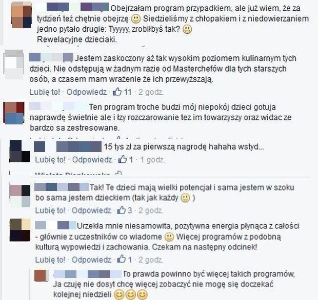 Komentarze na Facebook.com/MasterChef Junior Polska TVN