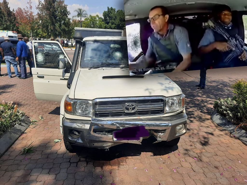 Toyota Land Cruiser po napadzie w Pretorii
