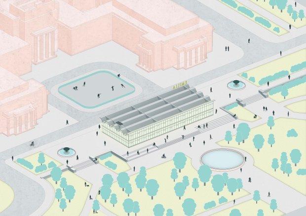 Wizualizacja budynku Emilki przed Pałacem Kultury