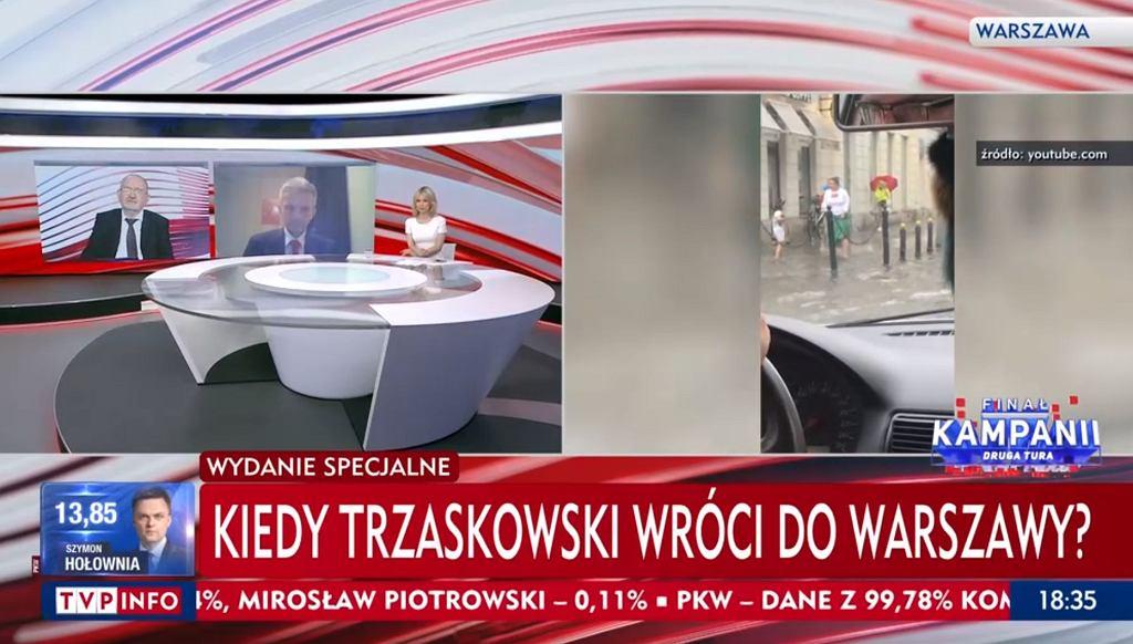 Ogromne opady deszczu w Warszawie. TVP Info o 'kryzysie', stacja szuka Trzaskowskiego