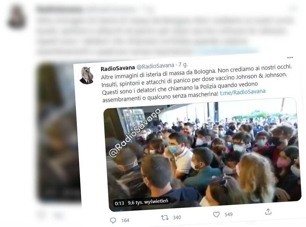 Bolonia. Chaos przed punktem szczepień