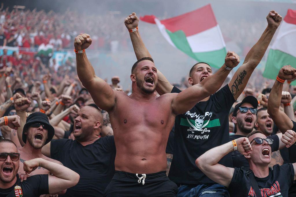 Węgierscy kibice podczas meczu z Francją