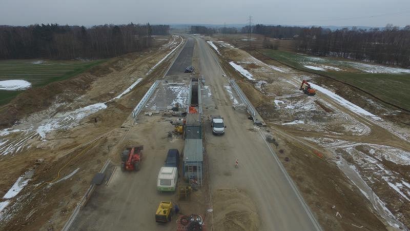 Budowa obwodnicy Olsztyna - luty 2018, okolica Naterki