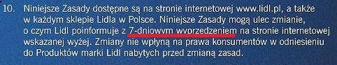 Fragment 'zasad zwrotu produktów marek własnych Lidla'