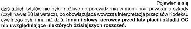 Fragment  listu Polskiej Izby Ubezpieczeń do Premier Beaty Szydło w sprawie ubezpieczeń OC