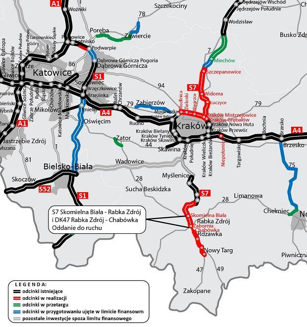 Nowy odcinek zakopianki - mapka/Fot.: GDDKiA