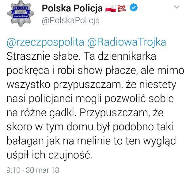 Wpis Komendy Policji na Twitterze