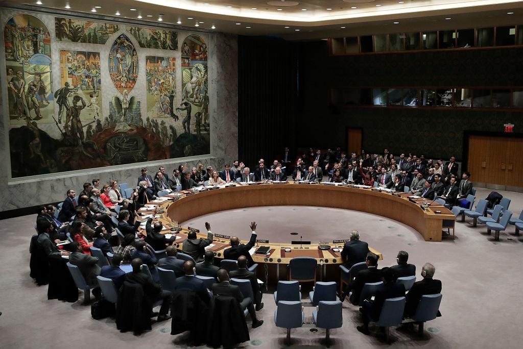 Posiedzenie Rady Bezpieczeństwa ONZ ws. wojny w Syrii. Kwatera główna organizacji, Nowy Jork, 10 kwietnia 2018