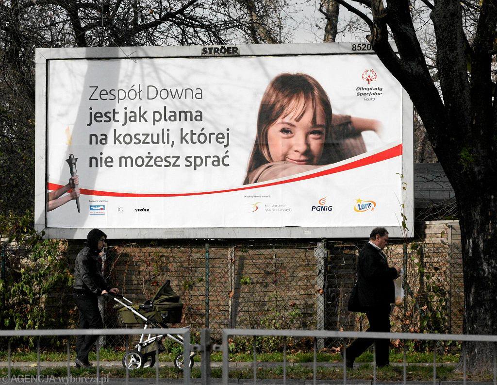 Jeden z billboardów kampanii informacyjnej Olimpiad Specjalnych