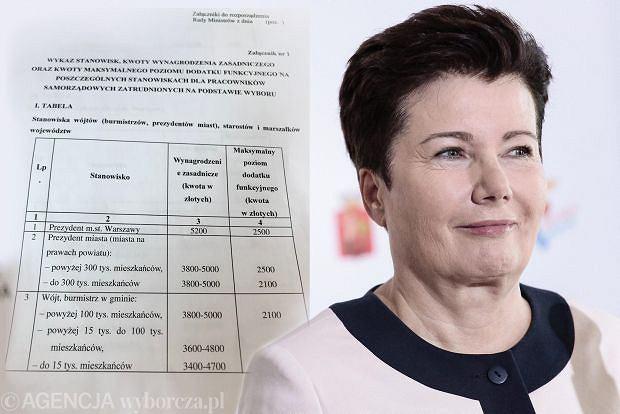 Prezydent Warszawy Hanna Gronkiewicz-Waltz - po ew zmianie przepisów - zarabiałaby 7700 zł a nie 9000 (nie licząc dodatków)