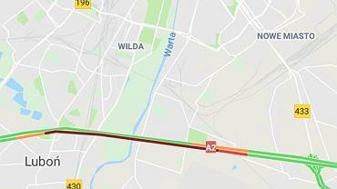 Karambol na A2 - autostrada zablokowana w kierunku Warszawy po wypadku między węzłami Poznań-Luboń i Poznań-Krzesiny