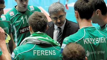 Trener Radosław Panas podczas meczu Indykpol AZS Olsztyn - Jastrzębski Węgiel