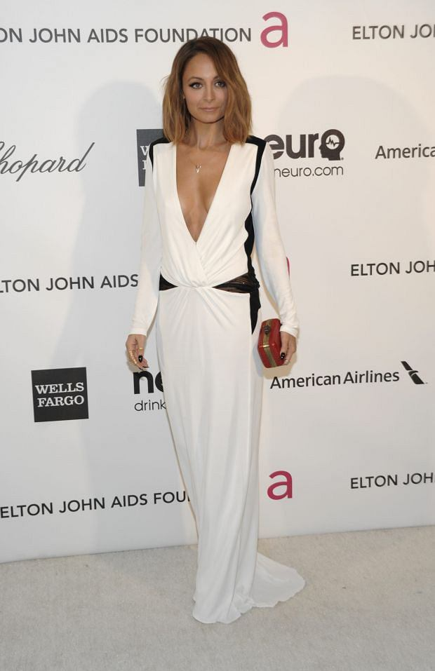 Television personality Nicole Richie arrives at the 2013 Elton John Oscar Party in West Hollywood, Calif. on Sunday, Feb. 24, 2013. (Dan Steinberg/Invision/AP)
