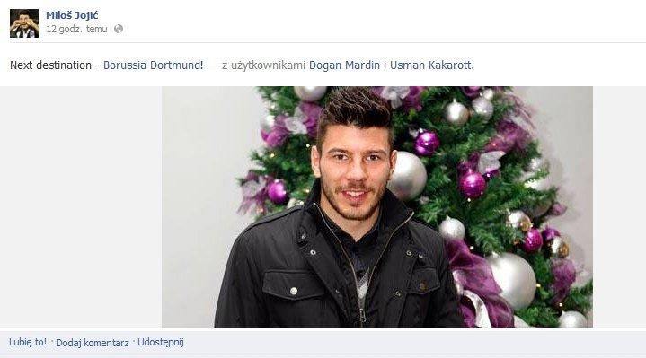 Wpis na Facebooku Milosa Jojicia