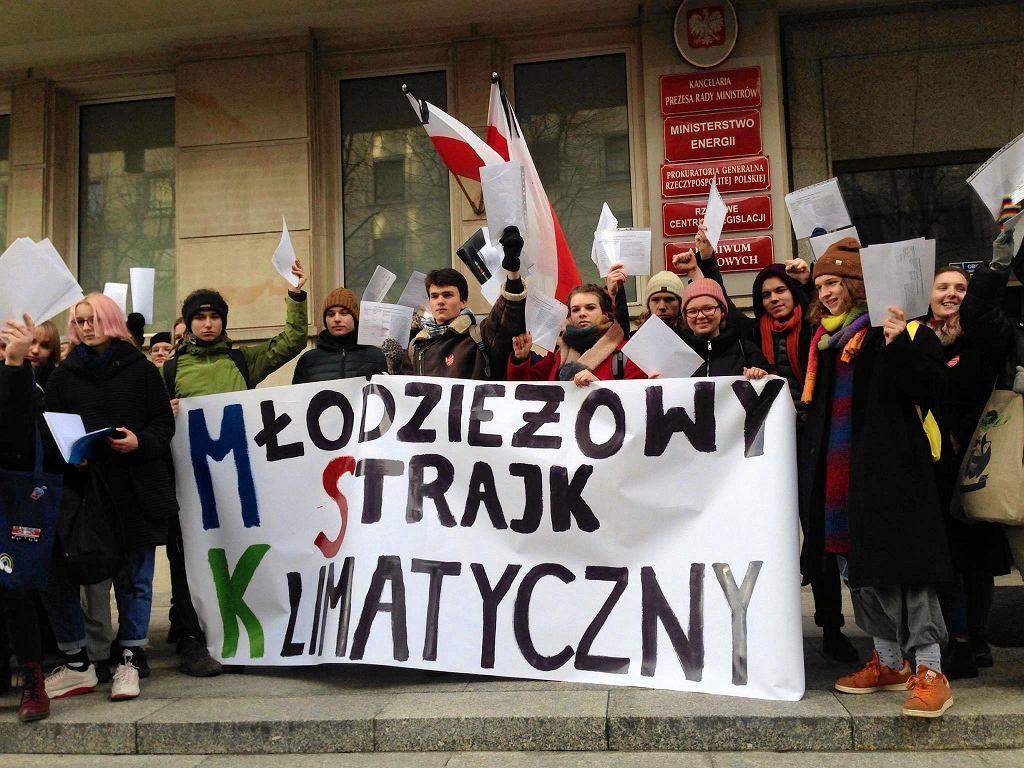 Licealiści z Młodzieżowego Strajku Klimatycznego