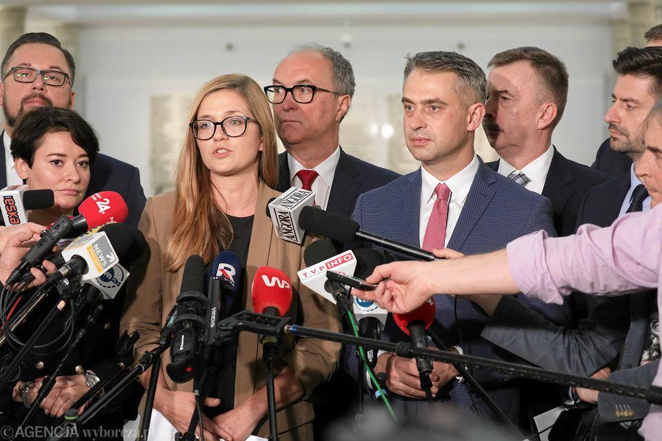 Magdalenia Biejat podczas konferencji prasowej. Warszawa, 19 listopada 2019