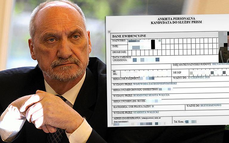 Antoni Macierewicz i formularz, który mieli wykraść hakerzy