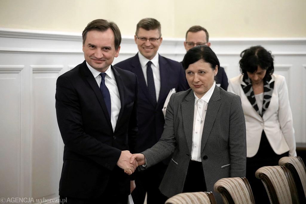 nWiceprzewodniczaca Komisji EuropejskiejVera Jourov spotyka sie z Ministrem Sprawiedliwosci Zbigniewem Ziobro