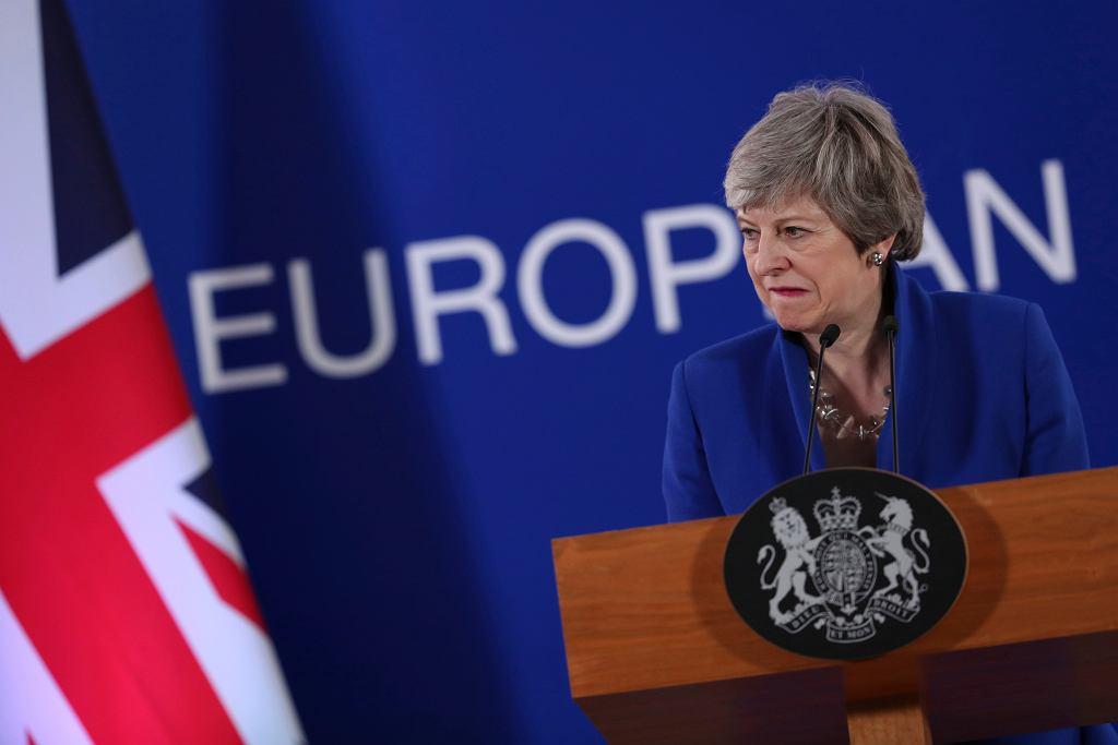 Theresa May podczas konferencji prasowej w czasie szczytu przywódców Unii Europejskiej w Brukseli, 11.04.2019