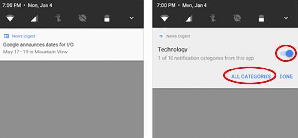 Kategorie powiadomień w Androidzie O