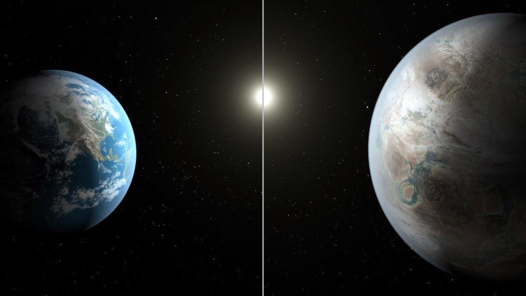 Wizualizacja Ziemi i planety Kepler-452b