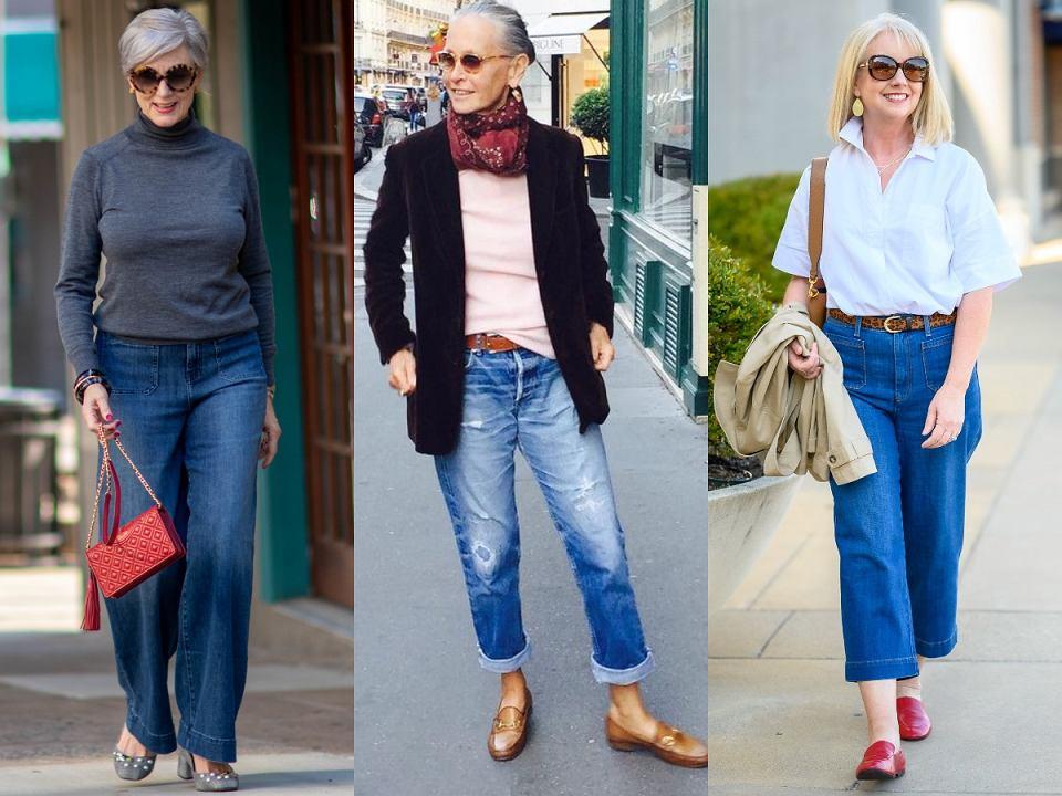Jeansy z szerokimi nogawkami dla kobiet po 50-tce