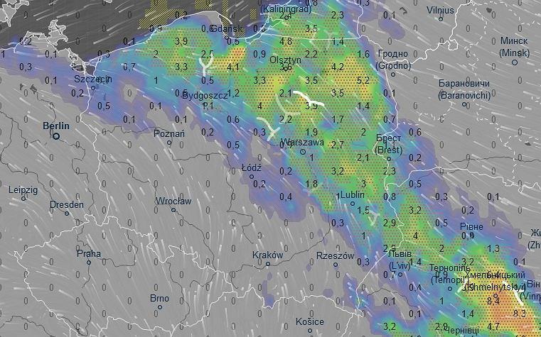 Pogoda. Prognoza opadów na sobotę na godz. 14