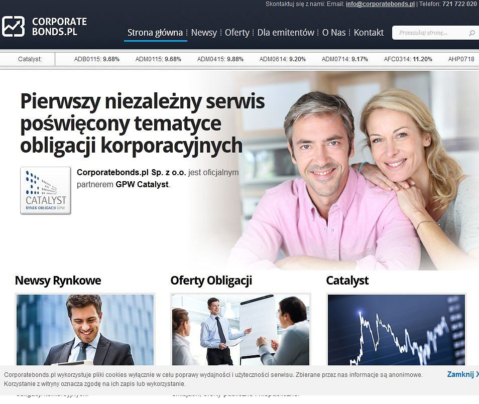 Strona internetowa Corporate Bonds
