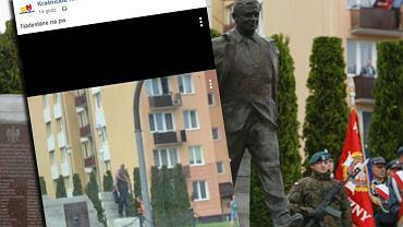 Kraśnik: mężczyzna usiadł okrakiem na pomniku Lecha Kaczyńskiego