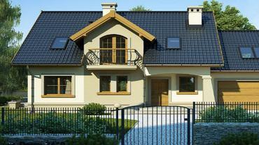Elewacja, ścieżka i ogrodzenie - ładny dom z zewnątrz