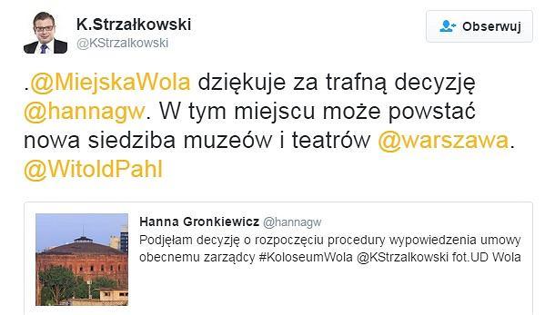 Twitter Krzysztofa Strzałkowskiego, burmistrza dzielnicy Wola.