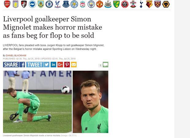 Simon Mignolet krytykowany za wpadkę w meczu towarzyskim
