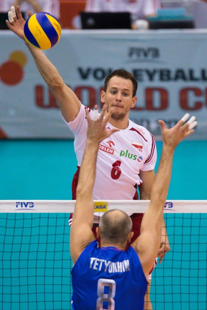 Bartosz Kurek podczas meczu z Rosją na Pucharze Świata
