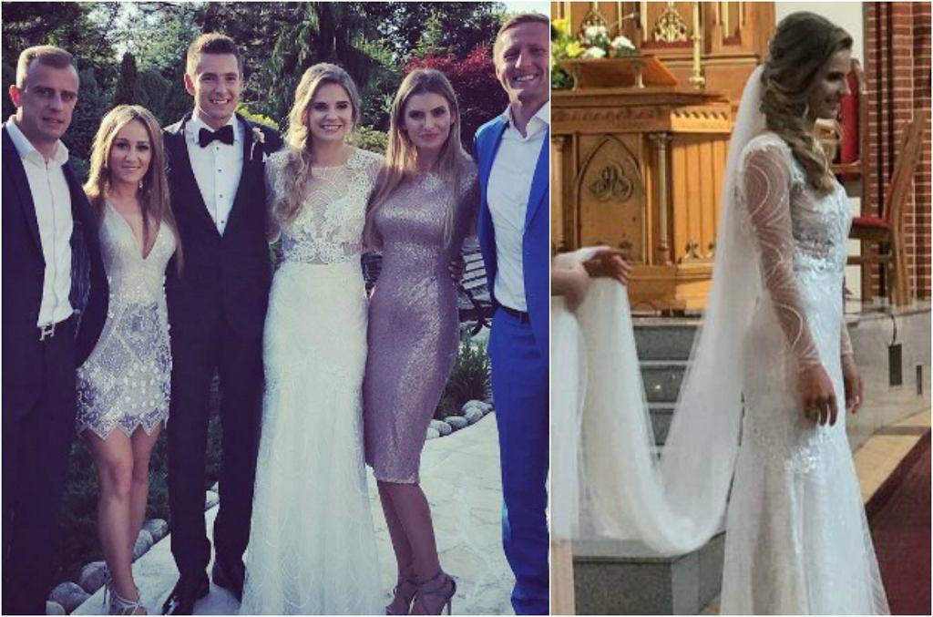 Piłkarze na ślubie Artura Sobiecha i Bogny Dybul