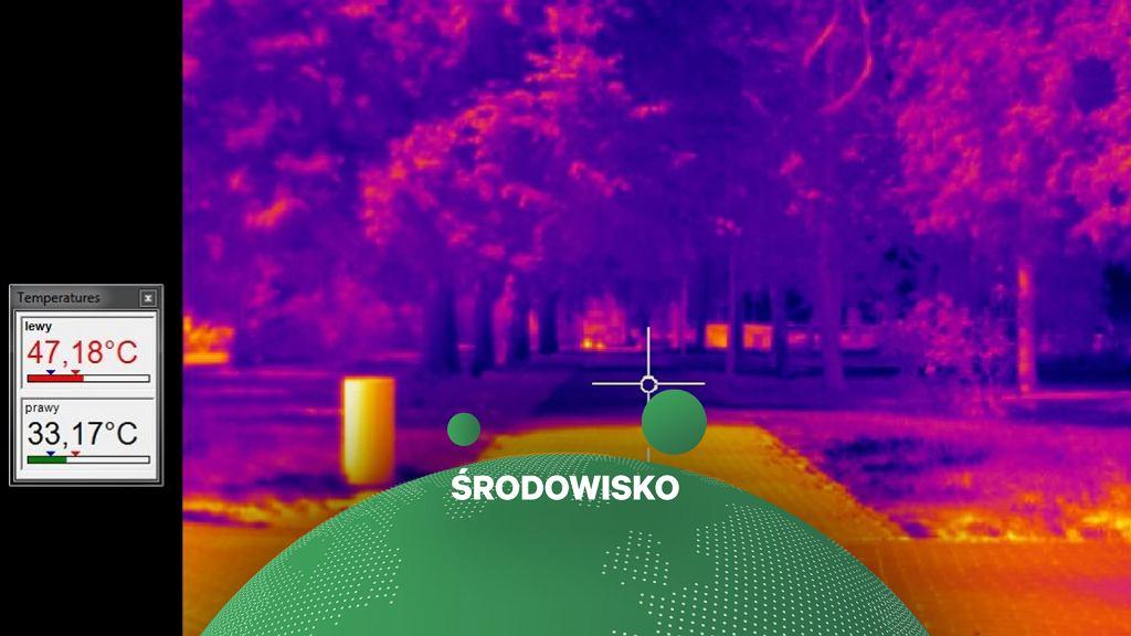 Temperatura chodnika w miejscu nasłonecznionym i w cieniu