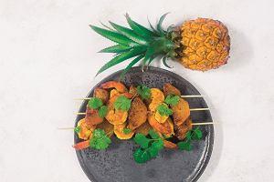 Szaszłyki krewetkowo-ananasowe z curry