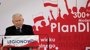 26.09.2019, konwencja wyborcza Prawa i Sprawiedliwości w Legionowie, przemawia Jarosław Kaczyński.