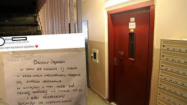 Mieszkanka Bielan wywiesiła na klatce schodowej ogłoszenie