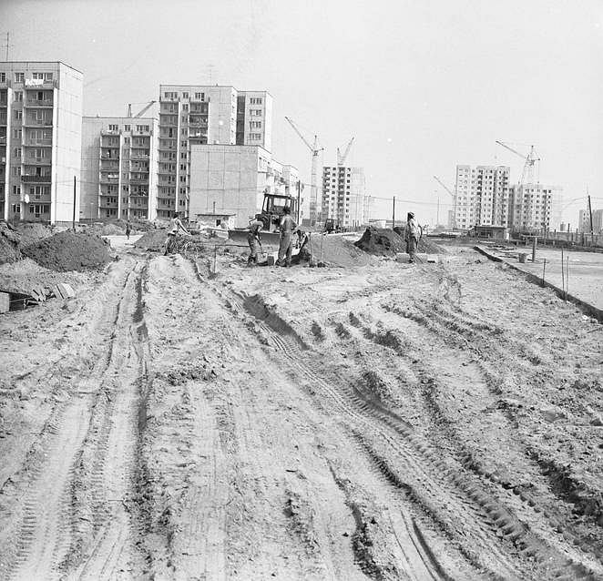 Budowa osiedli na Ursynowie w 1977 r.