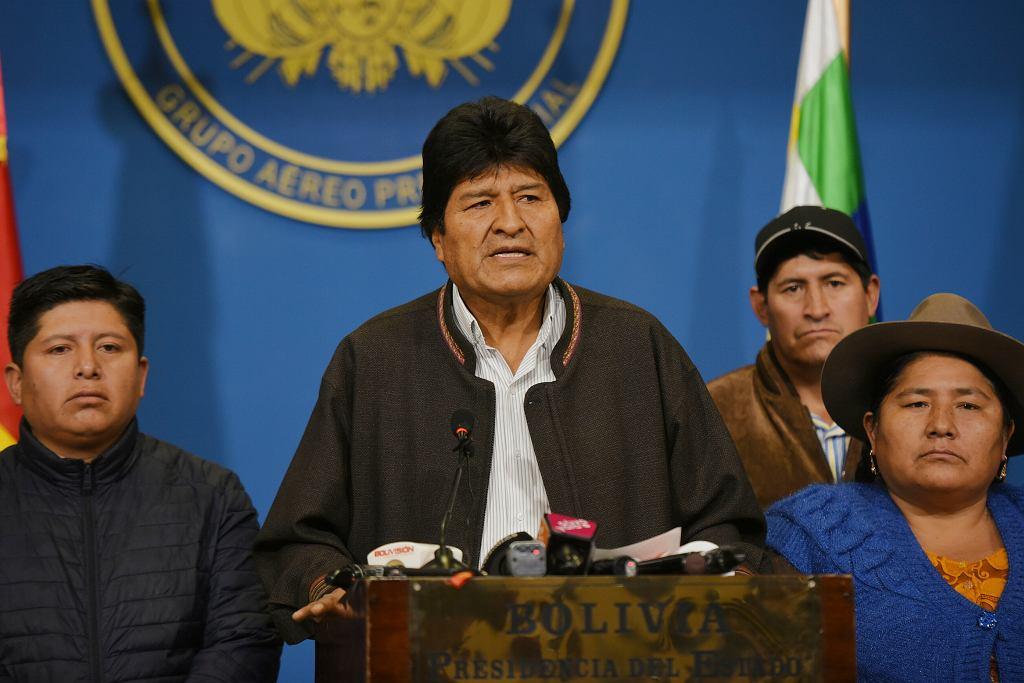 Prezydent Evo Morales podczas ogłaszania dymisji
