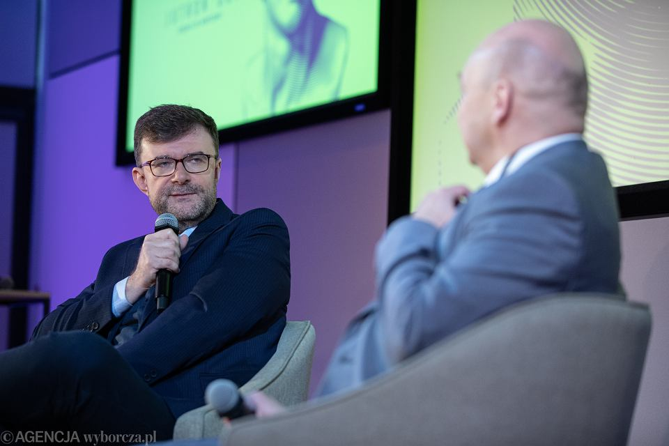 Jacek Dukaj w rozmowie z Wojciechem Orlińskim podczas finału Jutronautów